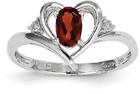 Red Garnet and Diamond Heart Ring in 14K White Gold