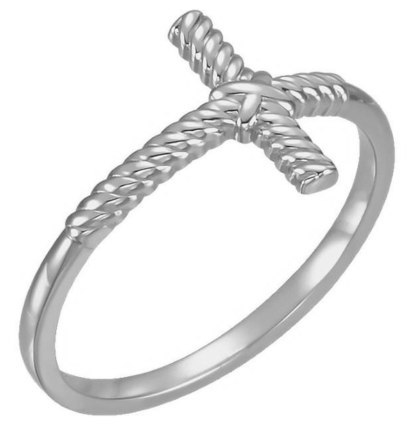 Rope Cross Ring for Women in 14K White Gold