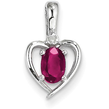 Ruby and Diamond Heart Birthstone Pendant