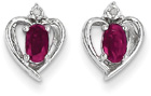 Ruby and Diamond Heart Earrings in 14K White Gold