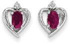 Ruby and Diamond Heart Earrings in 14K White Gold