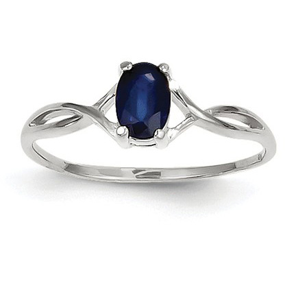 Sapphire Twist Design Birthstone Ring in 14K White Gold
