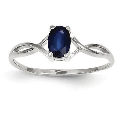 Sapphire Twist Design Birthstone Ring in 14K White Gold