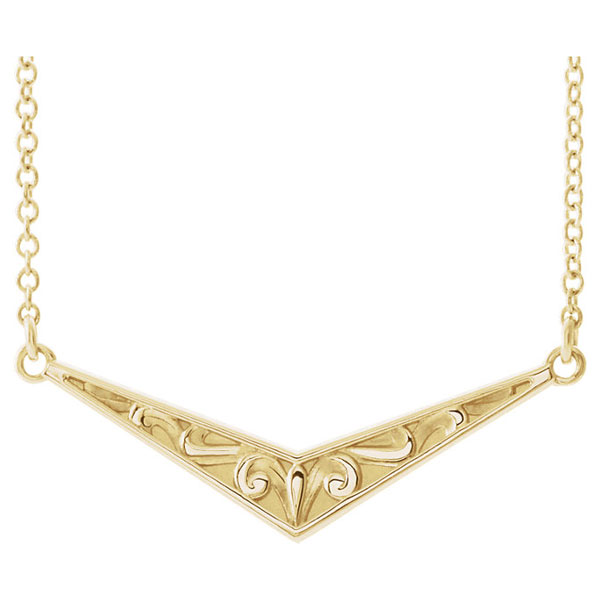 Sculptural-Inspired V Bar Necklace in 14K Gold, 16