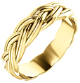 Sculptured Woven Wedding Band Ring, 14K Yellow Gold
