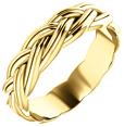 Sculptured Woven Wedding Band Ring, 14K Yellow Gold