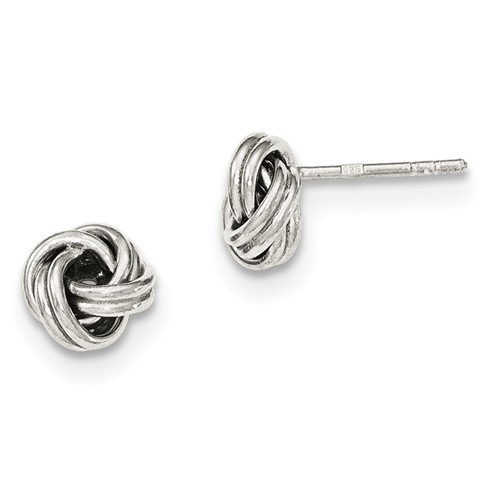 Silver Love Knot Post Earrings