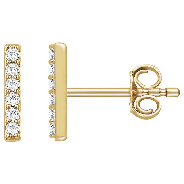 Small 14K Gold Diamond Vertical Bar Earrings