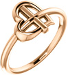 Small Women's 14K Rose Gold Cross-Knot Heart Ring