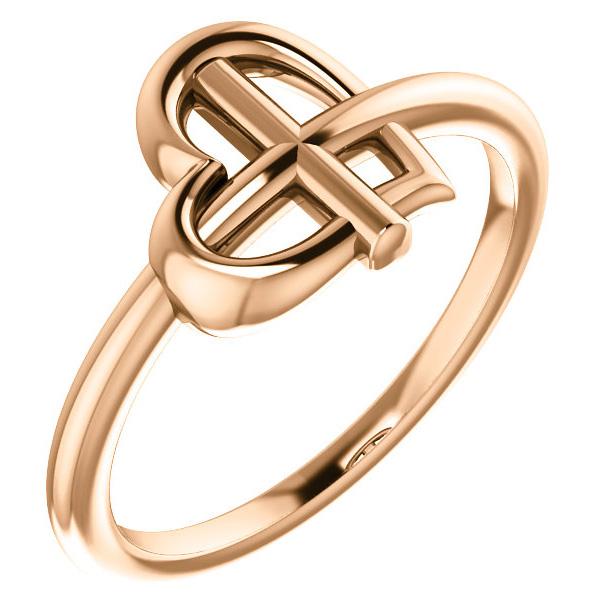 Small Women's 14K Rose Gold Cross-Knot Heart Ring