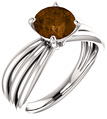Smoky Quartz Trinity Band Ring, 14K White Gold