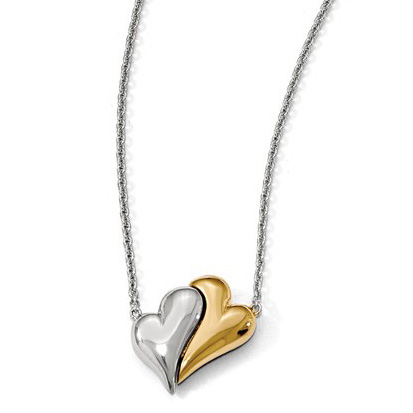Sterling Silver and 14K Gold-Plated Magnetic Double Heart Necklace