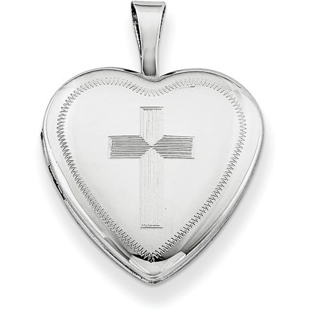 Sterling Silver Heart with Cross Locket Pendant