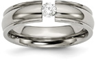 Tension-Set Titanium and Diamond Wedding Band Ring