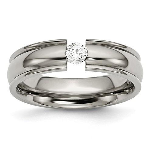 Tension-Set Titanium and Diamond Wedding Band Ring