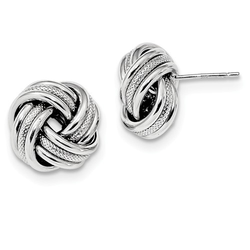 Textured Sterling Silver Love Knot Earrings