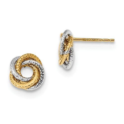 Textured LoveKnot Earrings, 14K Two-Tone Gold