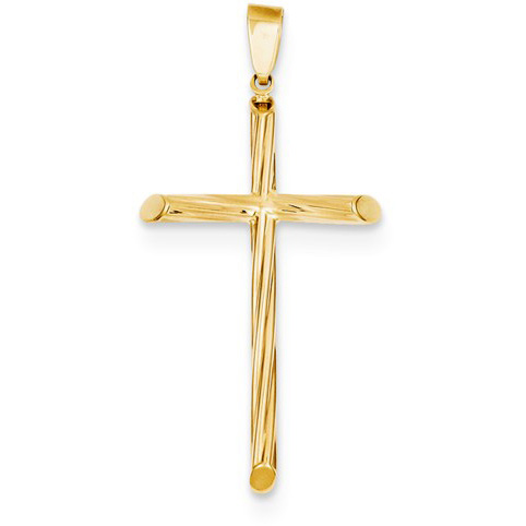 Textured Swirl Cross Pendant in 14K Yellow Gold
