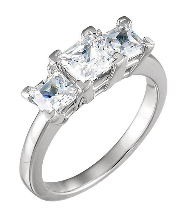 1 3/4 Princess-Cut Three Stone Diamond Engagement Ring