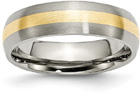 Titanium and 14K Yellow Gold Brushed Wedding Band