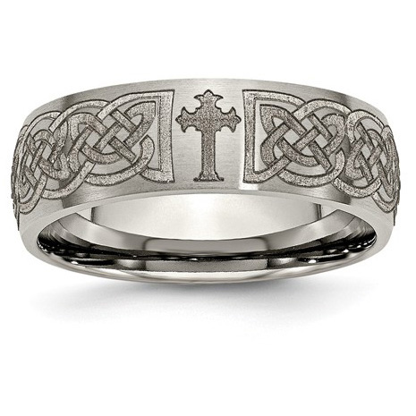 Titanium Celtic-Knot and Cross Band Ring