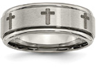 Titanium Laser Etched Cross Wedding Band