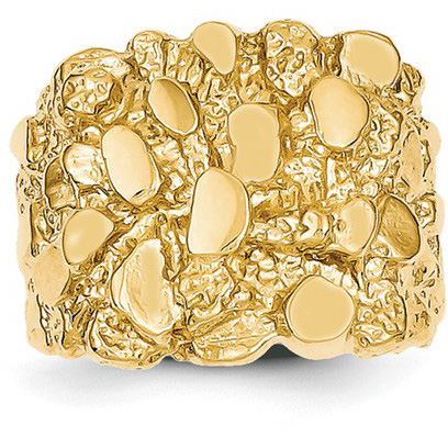 Traditional Large 14K Yellow Gold Nugget Ring