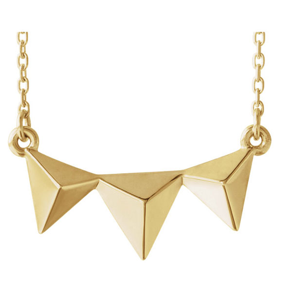 Triple Pyramid Necklace in 14K Yellow Gold