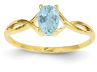 Twist Design Aquamarine Birthstone Ring in 14K Yellow Gold