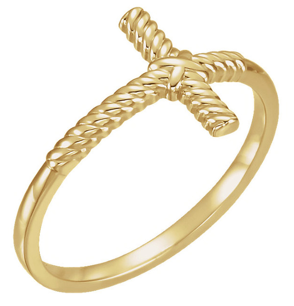 Twisted Rope Women's Cross Ring in 14K Gold