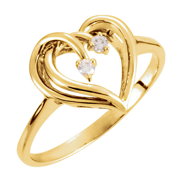 Two Gold Hearts as One Diamond Ring