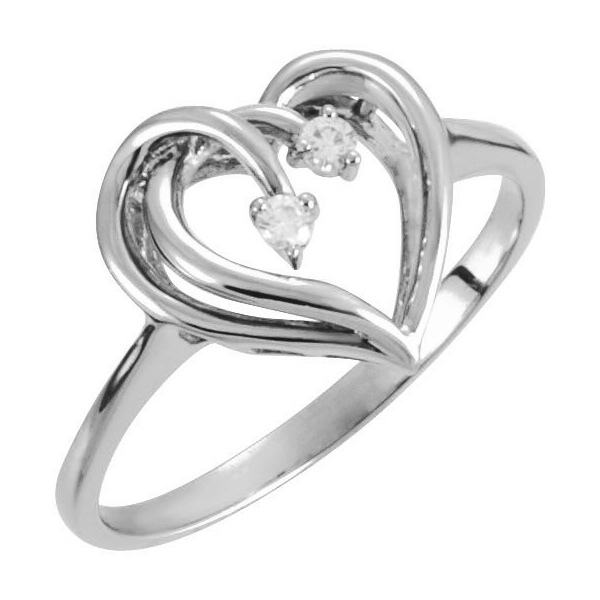 Two Hearts Beat as One Diamond Ring in White Gold