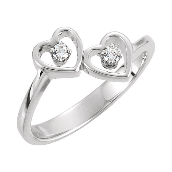 Two of Us Heart Ring in White Gold