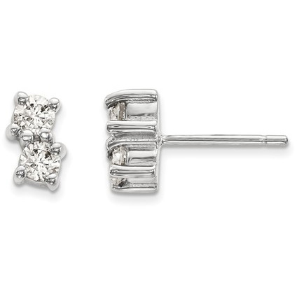 Two-Stone 1/2 Carat Diamond Stud Earrings in 14K White Gold