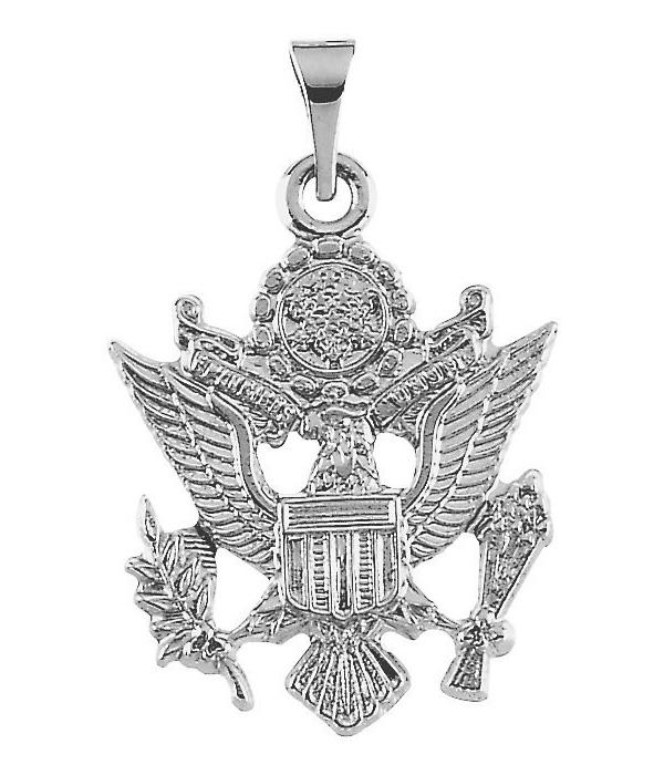 U.S. Army Insignia 14K White Gold Pendant