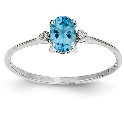 Blue Topaz and Diamond Birthstone Ring, 14K White Gold