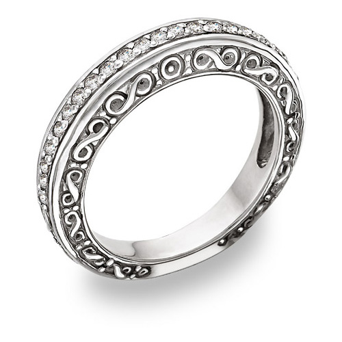 1/4 Carat Diamond Paisley Wedding Band
