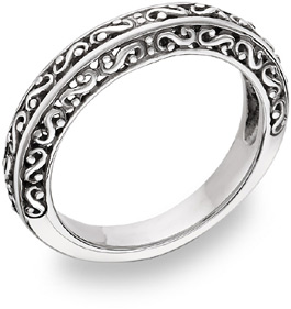 Filigree Wedding Band Ring in 14K White Gold