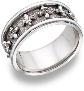 Buy Fleur-de-lis Wedding Band, 14K White Gold