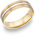 18K Two-Tone Gold Brushed and Polished Wedding Band