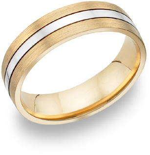 Two-Tone Brushed and Polished Wedding Band, 14K Gold