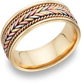 14K Tri-Color Gold Design Wedding Band