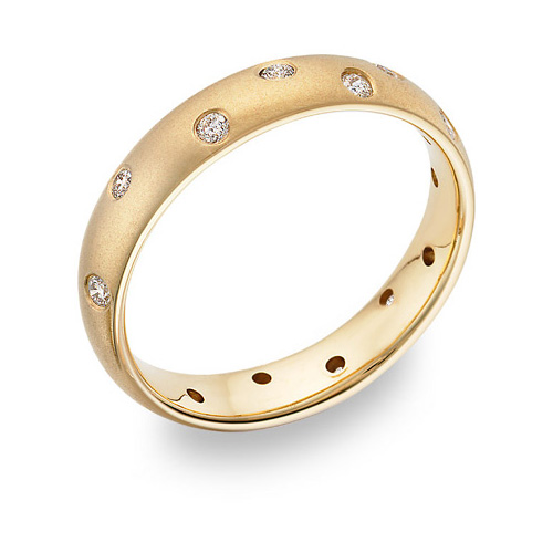 Zigzag Diamond Wedding Band, 14K Yellow Gold
