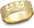 Mariner's Cross Wedding Band, 14K Yellow Gold