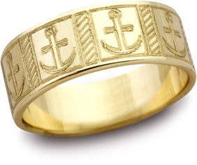 Mariner's Cross Wedding Band, 14K Yellow Gold