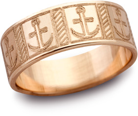 14K Rose Gold Mariner's Cross Wedding Band