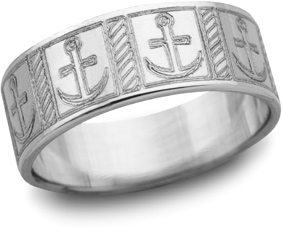 Mariner's Cross Wedding Band, 14K White Gold