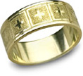 Giavanna Cross Wedding Band, 14K Yellow Gold