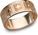 14K Rose Gold Giavanna Cross Wedding Band