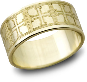 Greek Cross Wedding Band, 14K Yellow Gold